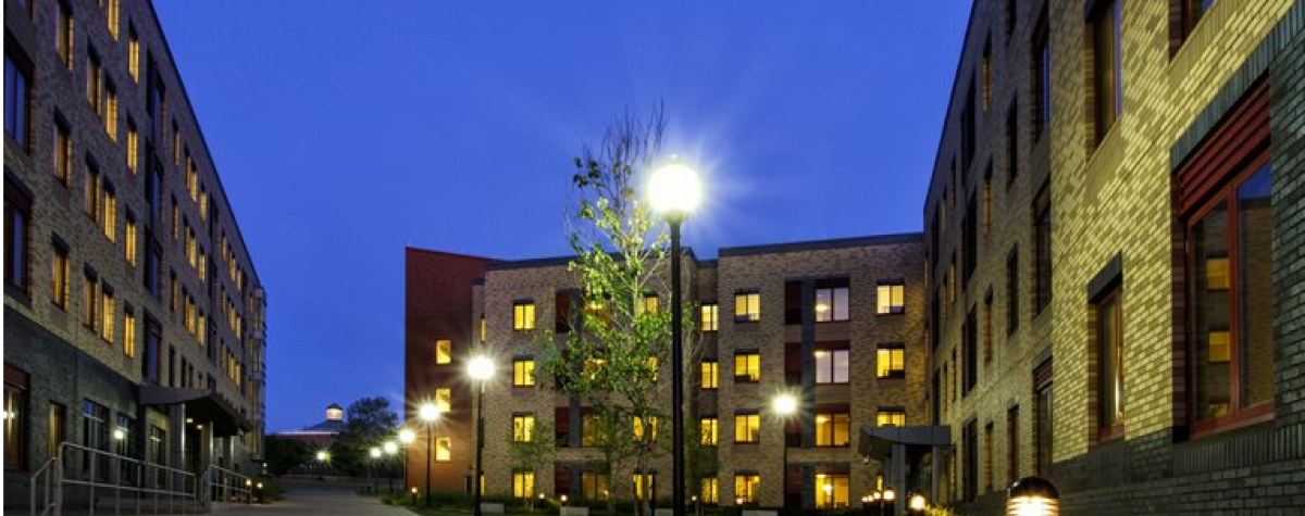 Dolphin Cove Residence Halls at night