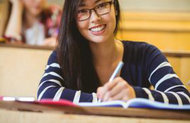 Student happy to be back in class